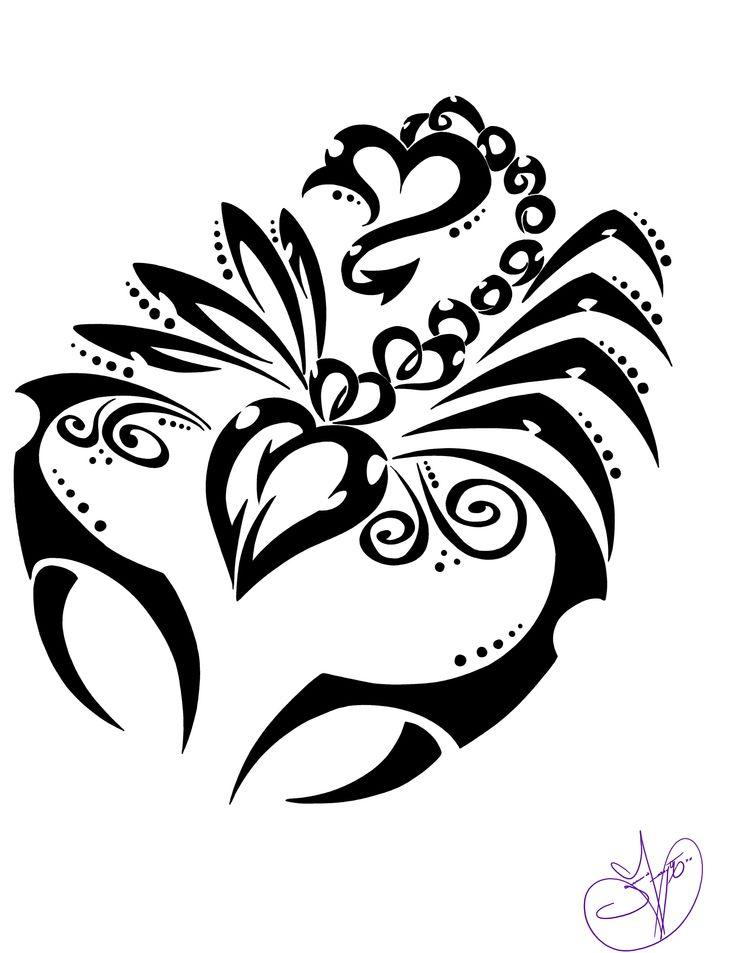 motif tatouage femme scorpion monochrome