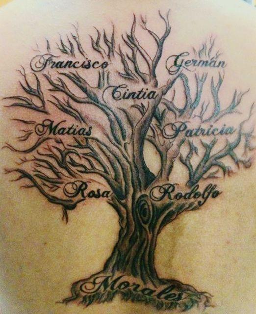 tatouage arbre femme avec prenoms dans les branches et tronc