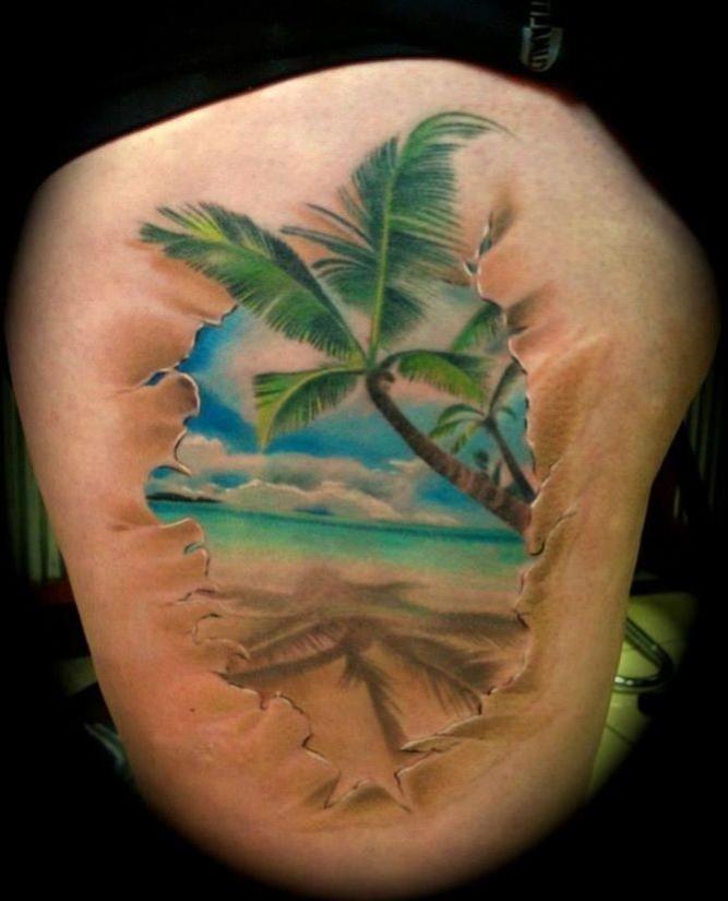 tatouage femme palmier couleur