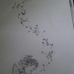 dessin pour tatouage pissenlit avec ange
