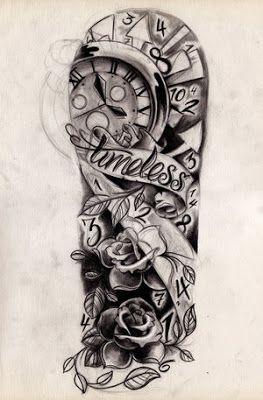 dessin pour tatouage rose avec parchemin et horloge