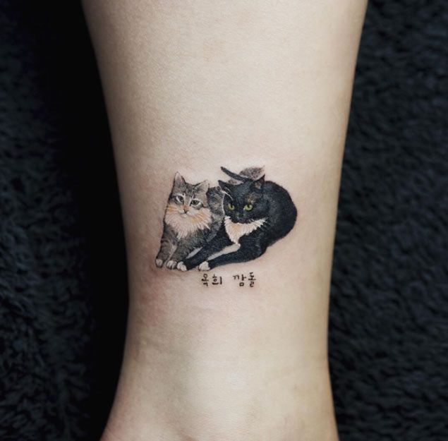 Modele tatouage 2 chats style realiste cheville