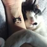Photo tattoo portrait tete de chat
