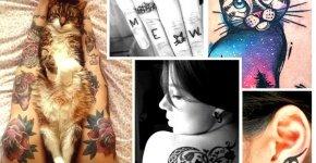 modeles tatouage femme chat