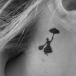 Tattoo discret femme derriere oreille mary poppins