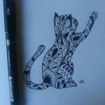 Dessin chat pour tatouage femme mandala