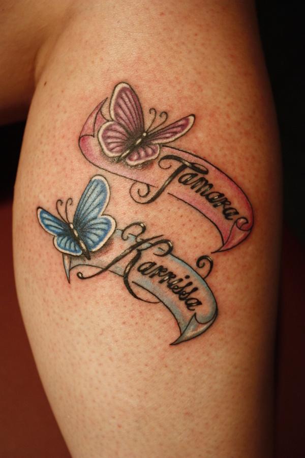 exemple tatouage 2 prenoms femme avec papillon rose et bleu tatouage femme. Black Bedroom Furniture Sets. Home Design Ideas