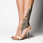 idee tattoo cheville inspiration asiatique avec motif dragon et belles ombres