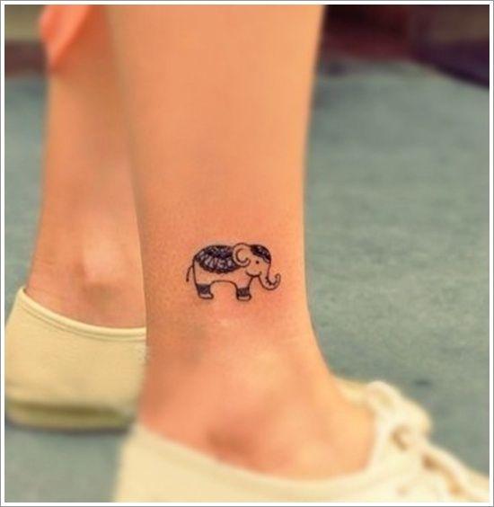 modele petit tatouage cheville femme elephant