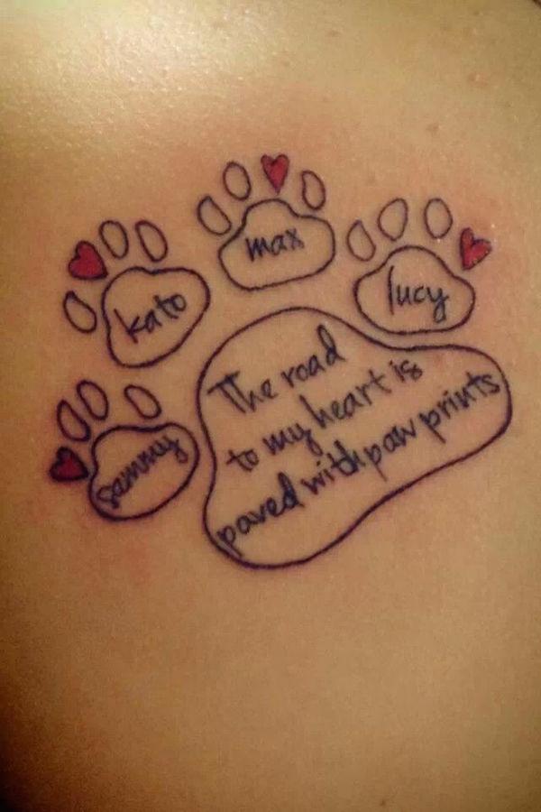 photo tattoo feminin prenom avec empreinte animale
