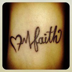 Modele Tatouage Poignet Battement De Coeur Et Mot Anglais Faith