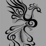 dessin tatouage phoenix femme de profil