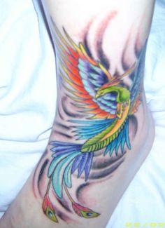 Exemple Tatouage Phoenix Femme Couleur Sur Cheville Tatouage Femme