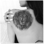 exemple tatouage tete de lion femme omoplate