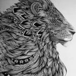 exemple tete de lion a tatouer mandala