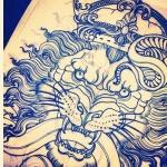 exemple tete de lion japonais tatoué