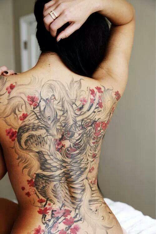 photo tattoo tres feminin phoenix japonais