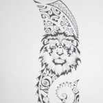 tatouage femme lion maori exemple