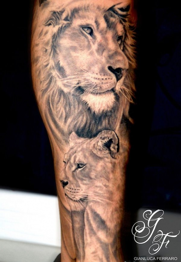 tatouage lion et lionne fille
