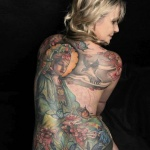 idee tattoo bouddha femme dos integral couleur