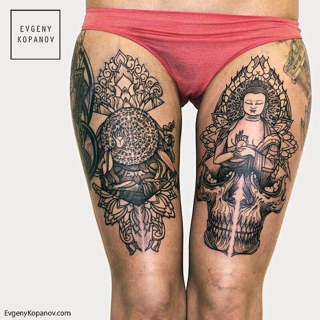 modele tatouage bouddha cuisse avec tete de mort tatouage femme. Black Bedroom Furniture Sets. Home Design Ideas