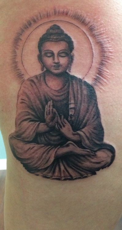 Modele Tatouage Bouddha Position De Lotus Cuisse Tatouage Femme