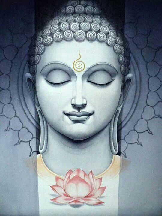 motif tatouage femme tete bouddha et lotus