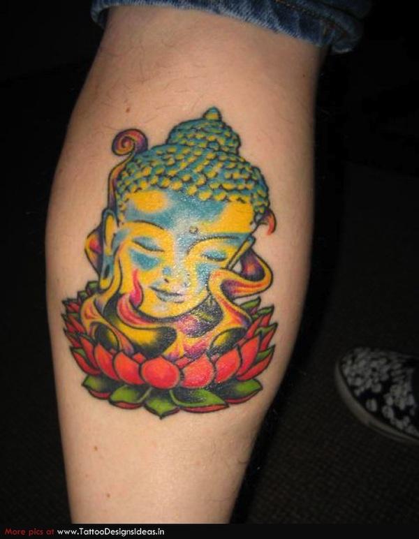 photo tatouage fleur de lotus femme et tete de bouddha