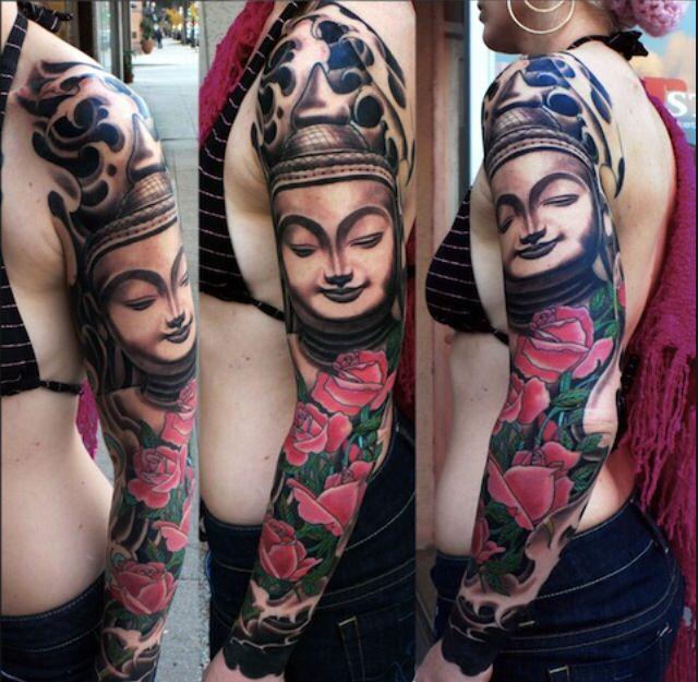 tatouage tibetain bouddha femme manchette entier avec roses