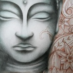 tatouage tibetain tete de bouddha femme modele