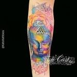 tete de bouddha tatouage femme aquarelle
