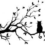 dessin tatouage branches arbre et chat femme