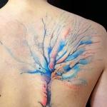 modele tatouage arbre aquarelle couleur omoplate