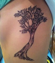 photo tattoo feminin arbre avec feuilles