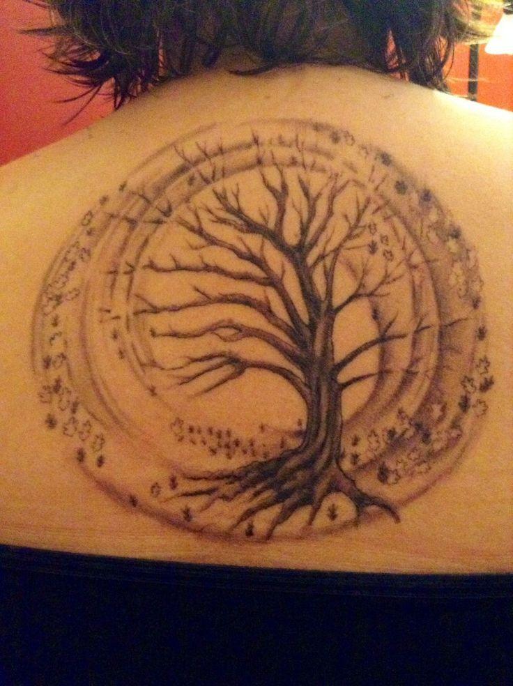 Tatouage Arbre De Vie Femme Haut Du Dos Dans Cercle Tatouage Femme