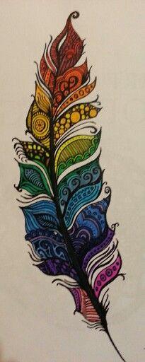 dessin pour tatouer belle plume couleur feminine