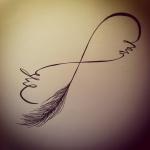 modele dessin tatouage infini plume avec mots
