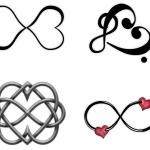 4 tattoo coeur infini et note de musique