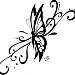 dessin papillon profil avec arabesque pour tatouage femme