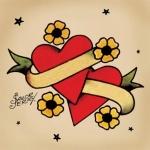 idee dessin tattoo coeur et parchemin old school