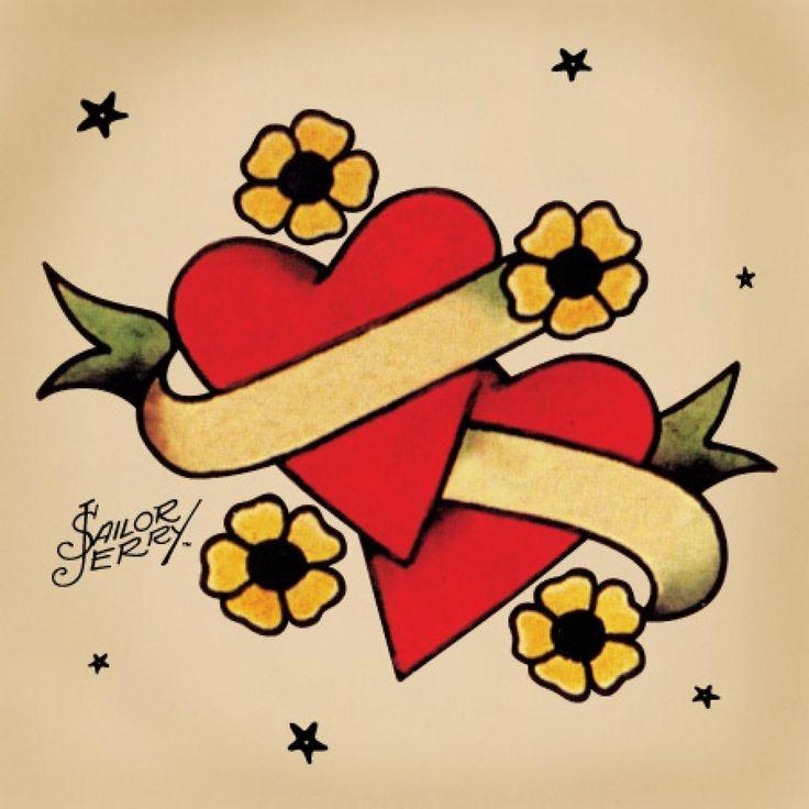 idee dessin tattoo coeur et parchemin old school