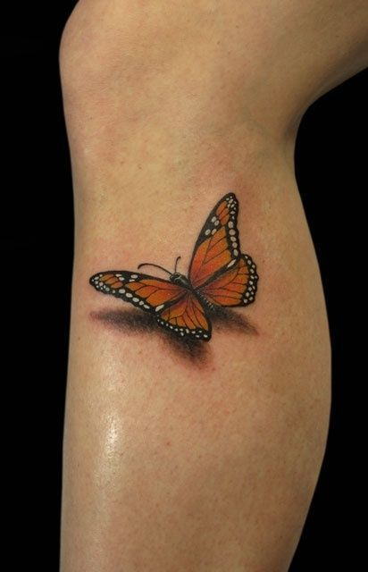 modele tatouage papillon  3d monarque sur jambe sous le genou