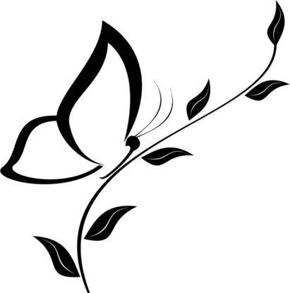 motif profil papillon sur une fleur pour tattoo feminin tatouage femme. Black Bedroom Furniture Sets. Home Design Ideas