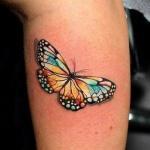 tatouage femme papillon couleur effet 3d