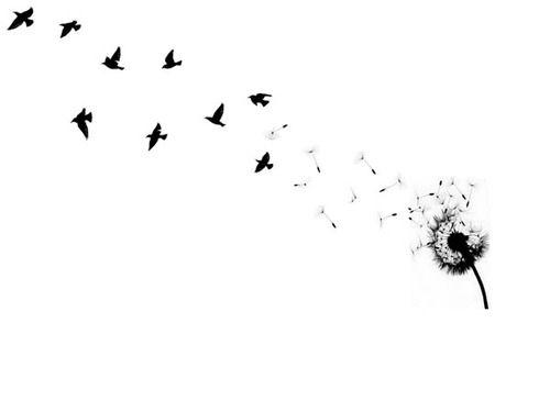 Dessin Pissenlit Qui S Envole Avec Oiseaux Femme A Tatouer