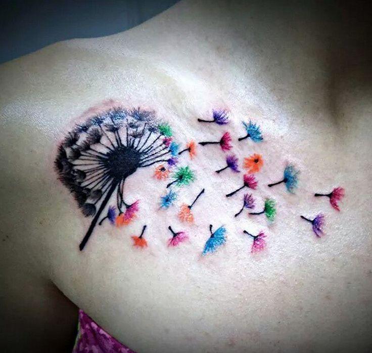 tatouage femme pissenlit fleurs aquarelle sous clavicule et epaule tatouage femme. Black Bedroom Furniture Sets. Home Design Ideas