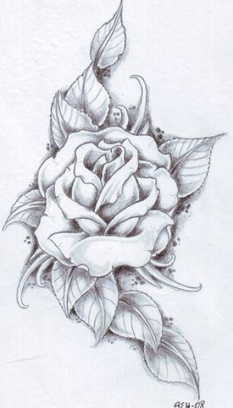 dessin pour tatouage rose avec feuilles