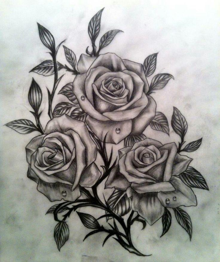 dessin tatouage fleurs 3 roses tatouage femme. Black Bedroom Furniture Sets. Home Design Ideas