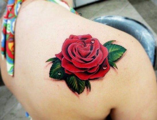 Inspiration Belle Rose Rouge Omoplate Effet 3d Femme A Tatouer