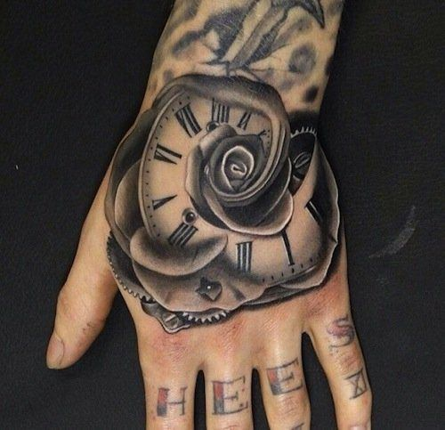 tatouage rose et horloge fusioinnee sur main femme tatouage femme. Black Bedroom Furniture Sets. Home Design Ideas